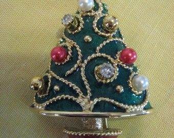 Gorgeous Vintage Enameled Christmas Tree Brooch Breastpin Costume Jewelry Ornaments jiggle