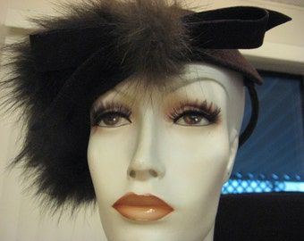 Fur Hat art Deco Brown wool Rare Millinery Ladies Hat Wool Bow Made in New York Adjustable ship High Fashion Free Ship