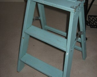 Vintage Old Turquoise Wood Step Ladder Shabby Chic 22.5 Tall...Adorable and Sturdy