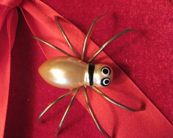 Vintage 1950 Brooch Pin Spider metal and hand painted Composition body enameled  c clasp Gently Used Cute 2.5""