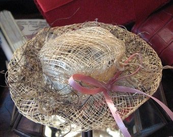 Doll Straw Hat with Grass on Brim Pink Ribbon Sweet Millinery SALE 20% Off coupon code 10moj2