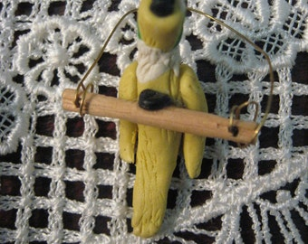 "Miniature Parrot Yellow and white Cocatiel  Bird 1.5"" Tall On Branch Handpainted Dollhouse Pet"