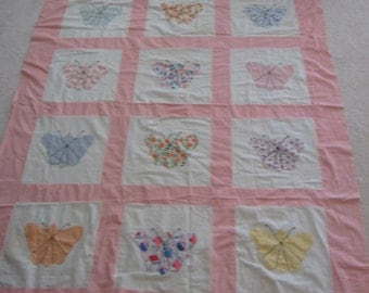 Vintage Quilt Cover Butterfly Needs to be finished Great for tablecloth 0r Summer Twin Bed Coverlet