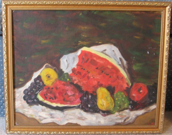HOLD Vintage Watermelon PAINTING Still Life Grapes Pear Apple FRAMED Signed c 1960 Era