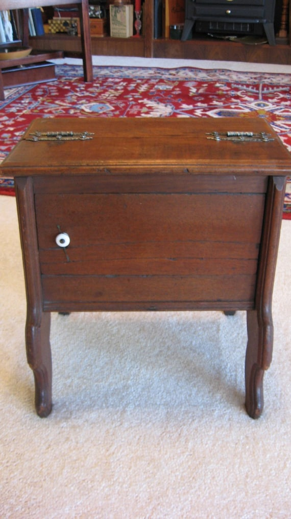 Antique Walnut CABINET/ Sewing CUPBOARD Lift Top Porcelain Knobe Handmade Hardware