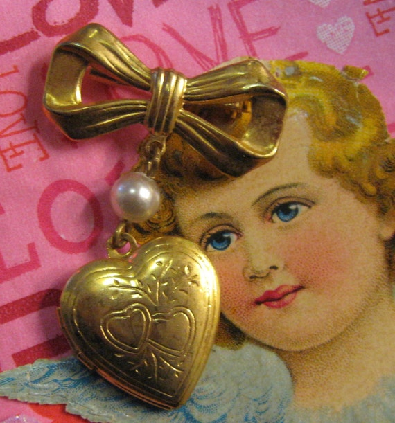 Heart Locket Brooch Bow Pearl Pin Jewelry Holds 2 pictures Gold tone Puffy Heart engraved with Hearts very Sweet VictorianSale 20% off