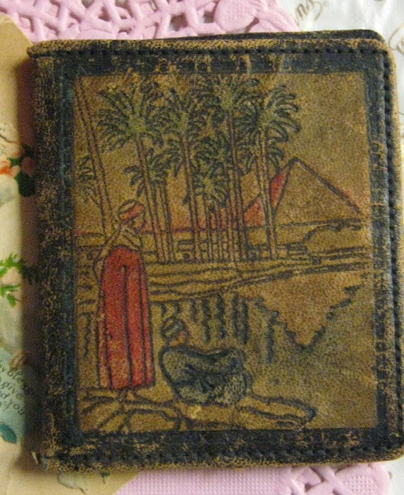 Rare hand colored antique wallet double sided egyptian pyramid palm trees figures color leather