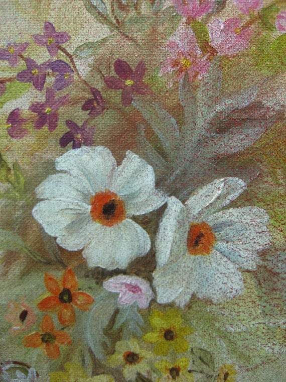 Painting GORGEOUS Vintage Floral Still Life Oil Glitter Finish Shabby Chic SALE coupon code 10moj2 20% Off