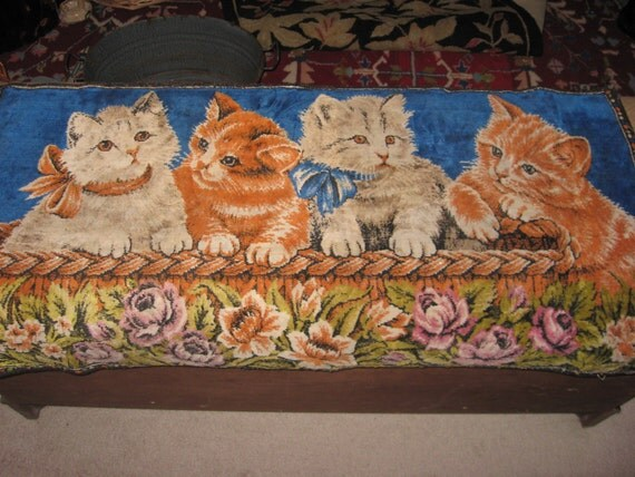 Antique Kitten Wall Hanging Tapestry Velvet Nice Condition Ribbons Roses 4 Little Kitty Cats c1950 SALE coupon code 10moj2