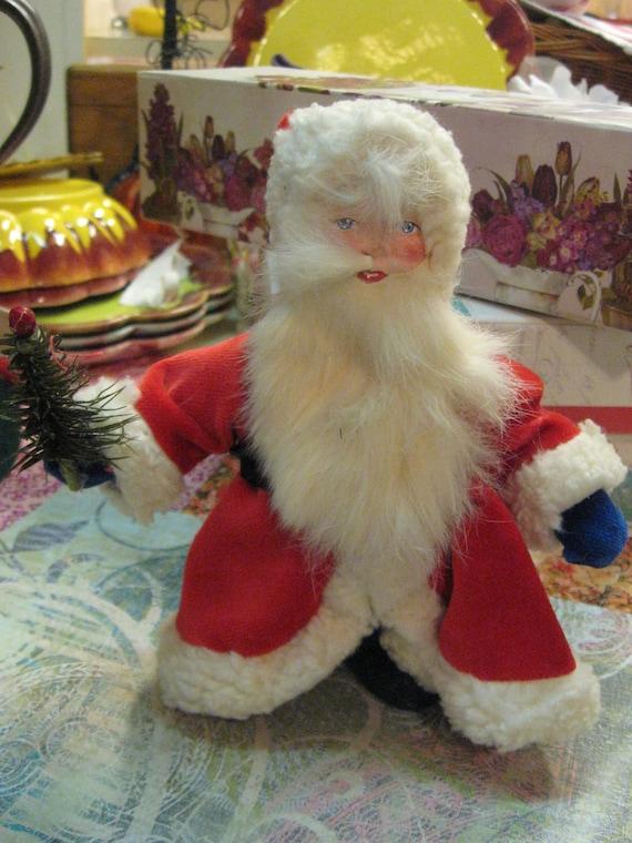 "SANTA Paper Mache German Made Santa Schaller 7"" Tall Beard Miniature Feather Tree Christmas Holiday 1980 Era"