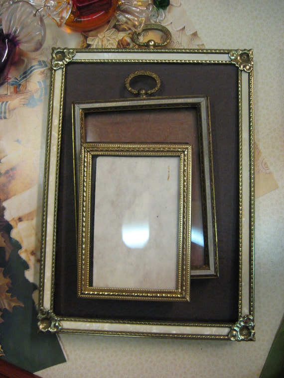 Vintage Frame Lot Silvertone and Goldtone middle size Ornate engraved Floral Design Estate Find