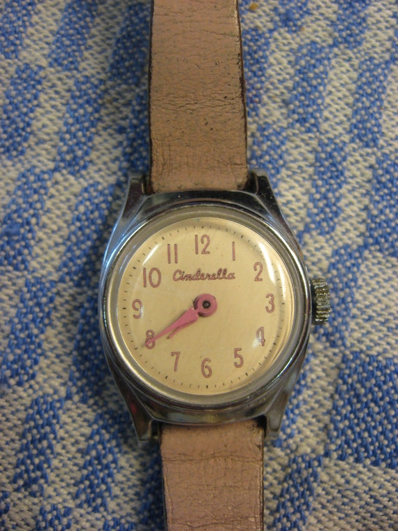Vintage Cinderella Watch with pink leather Band Pink Hands Pink numbers stainless steel back Child's Disney Wristwatch
