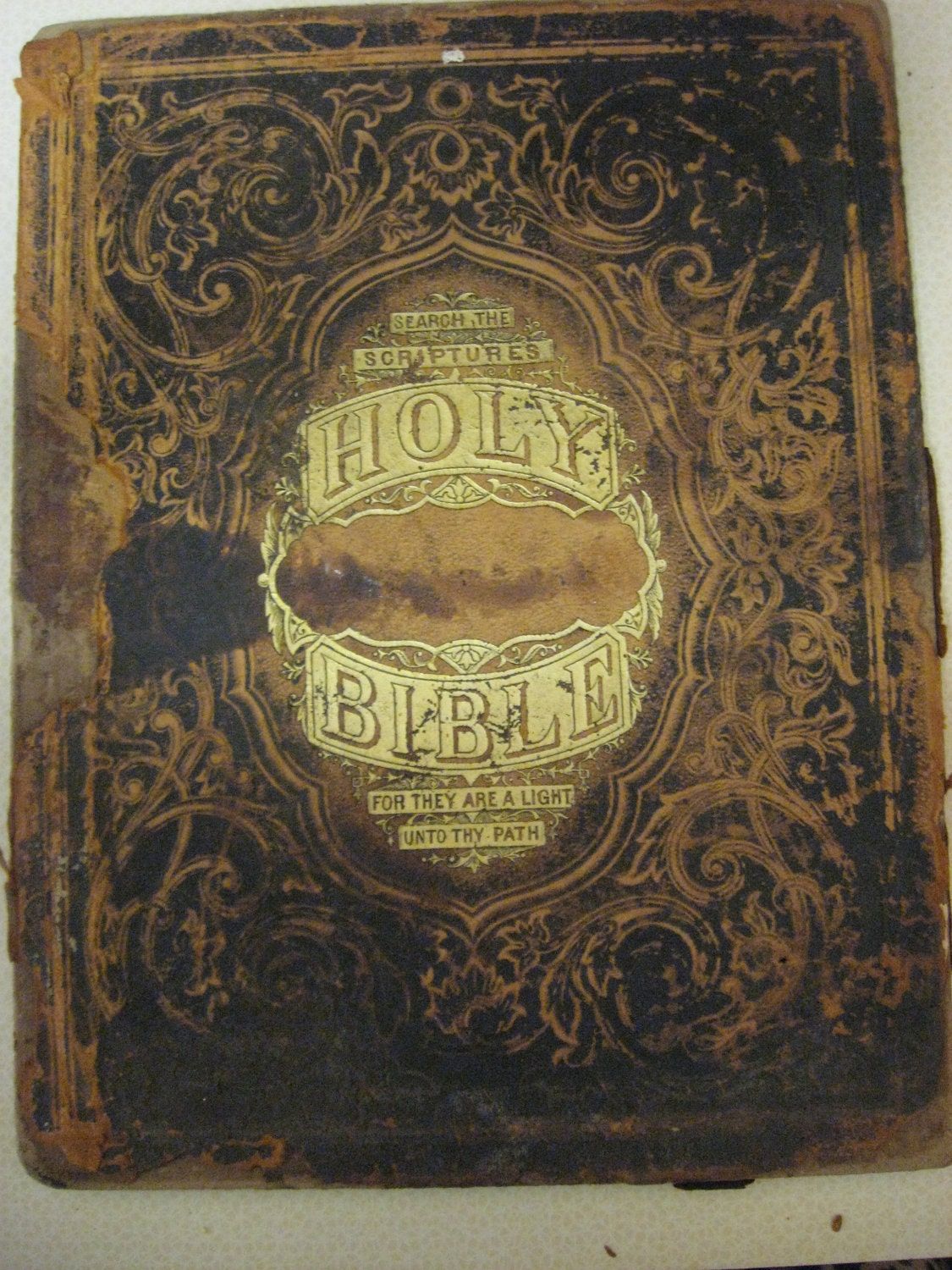 Old Book Covers For Sale : Antique holy bible book cover tooled leather gold gilt back is