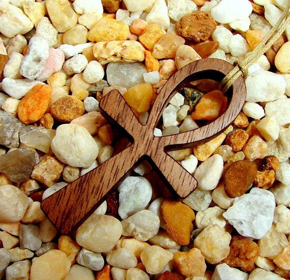 Ankh Cross Pendant / Walnut Wood / Eternal Life