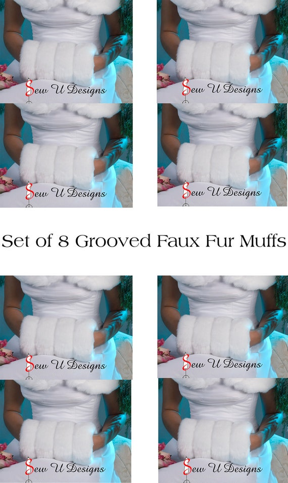 Faux fur winter wedding muffs Bridal party set of EIGHT Available in White, Cream or Black grooved faux fur
