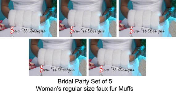 Faux fur winter wedding hand muffs Bridal party set of FIVE Available in White, Ivory, Cream or Black grooved faux fur