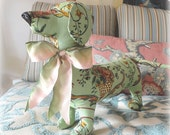 Plush Dachshund made with vintage Fabric OOAK