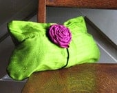 Lime Green Clutch with Magenta Fabric Rose