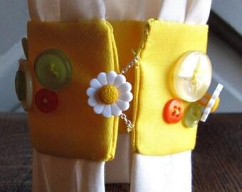 Yellow Fabric Cuff Bracelet - Citrus - Summer Jewelry