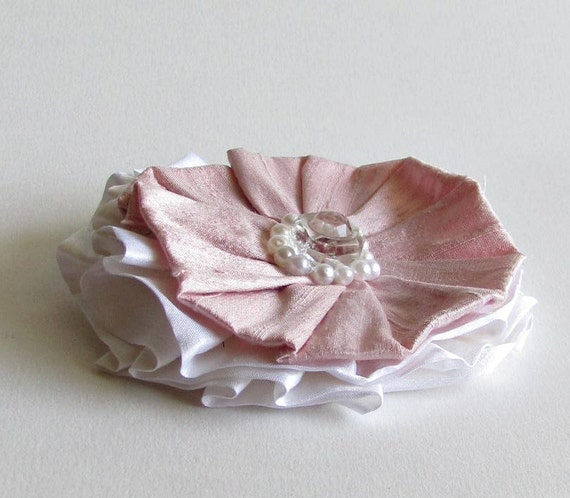 Pink and White Silk Flower Pin - Silk Brooch - Women's Fashion