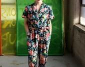 Vintage 90's Spring Floral Jumpsuit Onesie Size 4