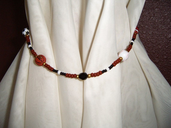 Handcrafted Beaded Sports Curtain Tie Backs