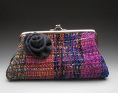 Handwoven Fab -- Rich, Jewel-tone Colored Clutch with a Silver Kisslock Frame and a Blue Gray Wool Rose