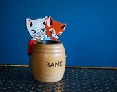 Vintage Wooden Cat Bank