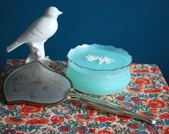 Vintage Bird Adorned Vanity Set