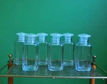 Vintage Set of 6 Glass Spice Jars