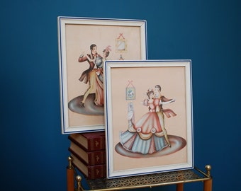 Vintage Set of Two Turner Style Dancing Couple Framed Prints