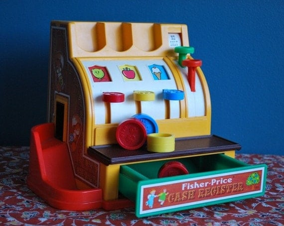 Vintage Fisher Price Cash Register with Coins