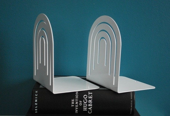 White Library Style Metal Bookends