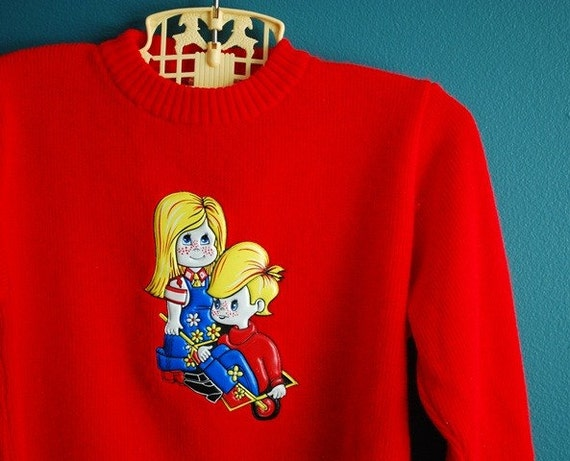 Vintage 1970s Children's Sweater with Vinyl Applique- Size 3-4