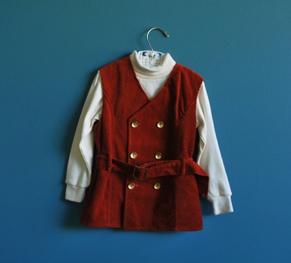 RESERVED Vintage Children's Corduroy Vest and Turtleneck Set- Size 4t