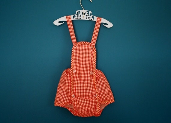 Vintage 1950s Gingham Baby Sunsuit- Size 3 Months