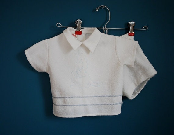 Vintage Two Piece Baby Outfit with Kangaroo Embroidery- Size 18 Months