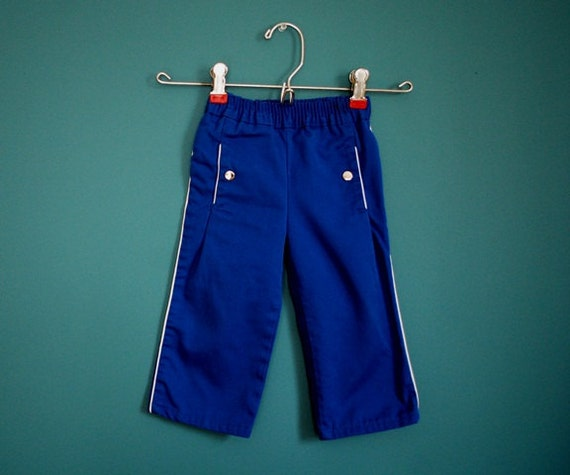 Vintage Toddler's Blue and White Pants- Size 18 Months