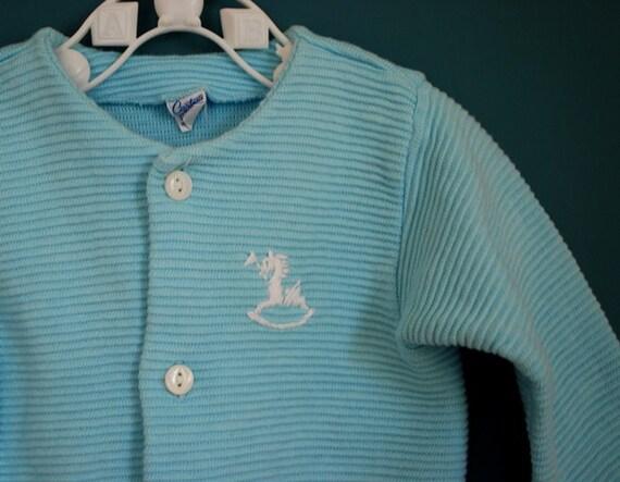 Vintage Baby Blue Knit Cardigan- Size 0-3 Months