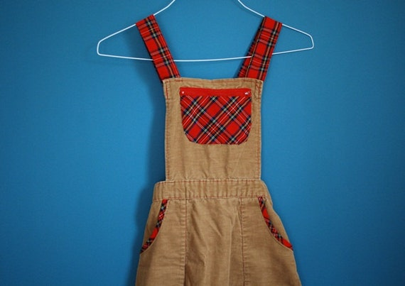 Vintage Girl's Corduroy and Plaid Jumper- Size 12