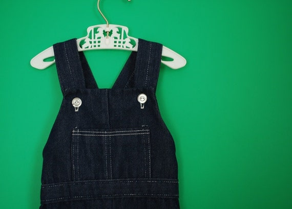 Vintage Baby's Dark Denim Overalls- Size 6 Months