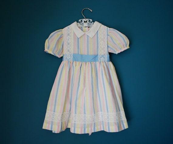 Vintage Pastel Striped Girl's Dress- Size 4T