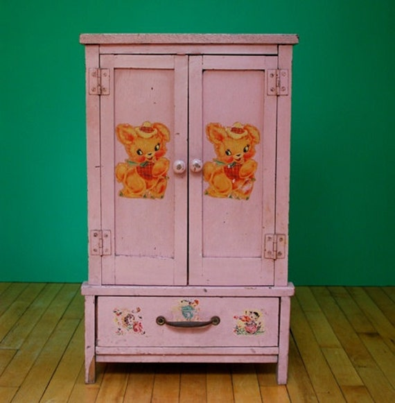Vintage 40s or 50s Large Wooden Toy Wardrobe