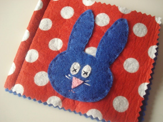 Bunny polka dot pin needle case in red and blue super cute