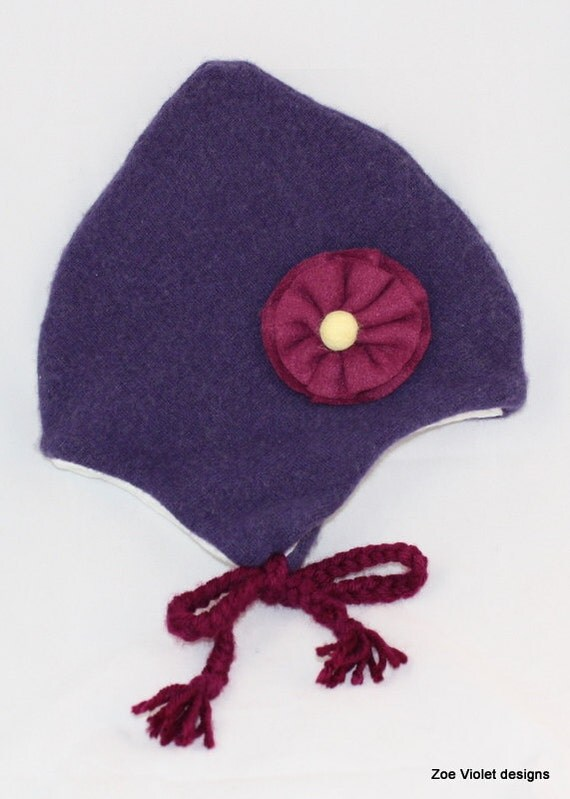 Felted Wool Pixie Hat With Flower- Kids Medium