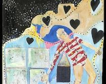 Large acrylic & oil painting original artwork Girl canvas painting surreal figurative Hearts narative art naive childlike by jamie hudrlik