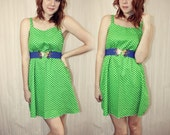Back to the Basics Dress- Green Polka Dot S