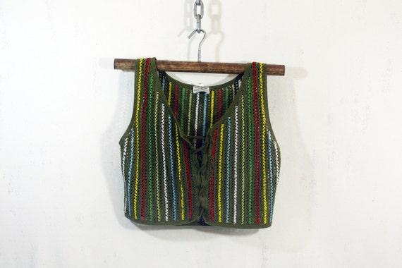 Green Crocheted Beaded Vest S