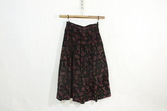 Corduroy Floral Maxi Skirt S M