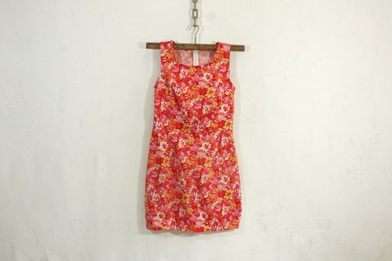 Red and Orange Floral Dress XS S